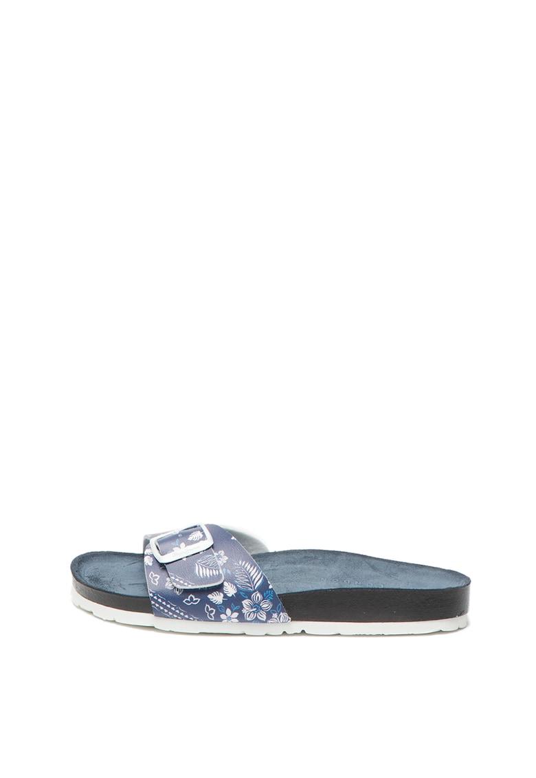 Papuci de piele ecologica cu model floral Oban Virgi