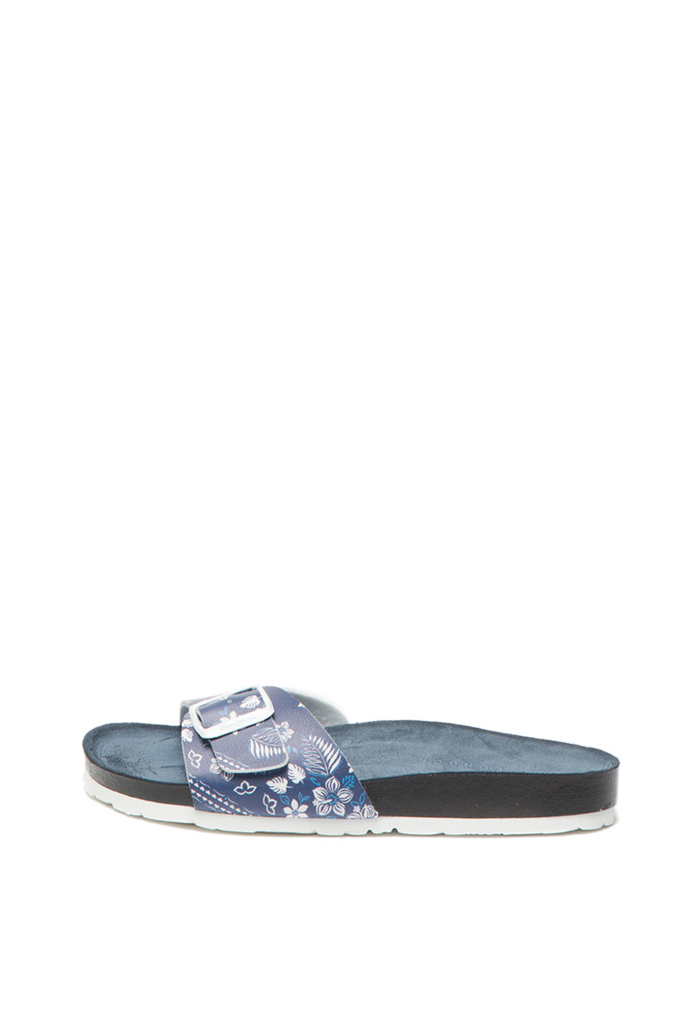 Papuci de piele ecologica cu model floral Oban Virgi PLS90420