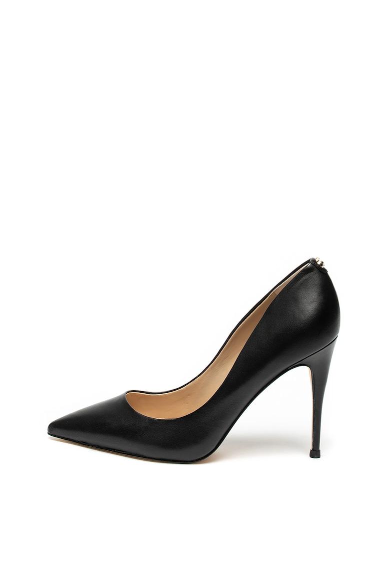 Pantofi stiletto de piele cu varf ascutit