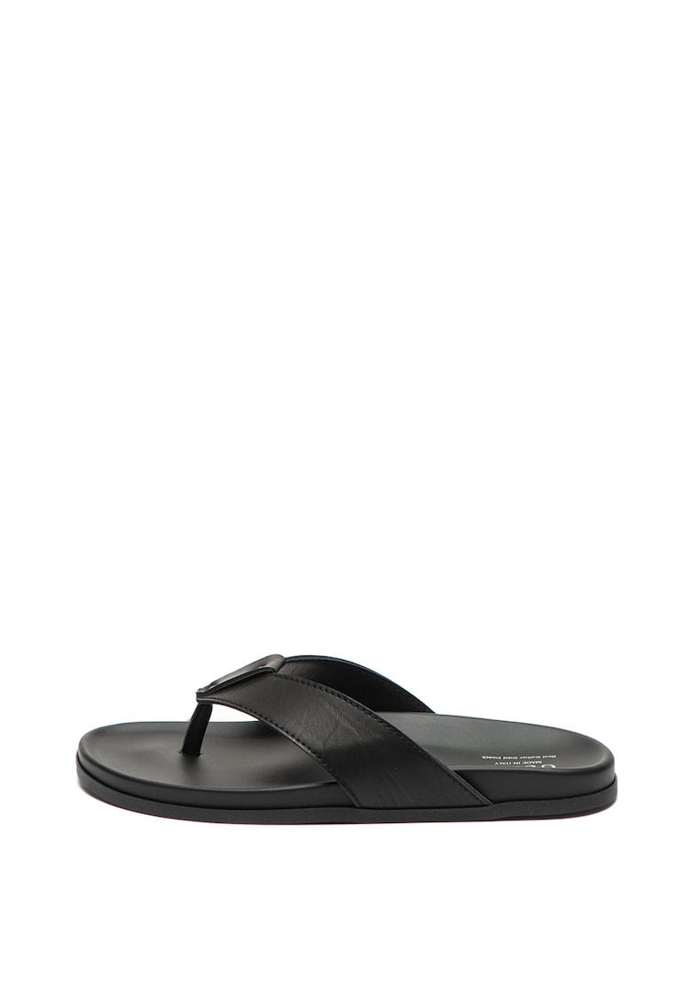 Papuci flip-flop de piele ecologica