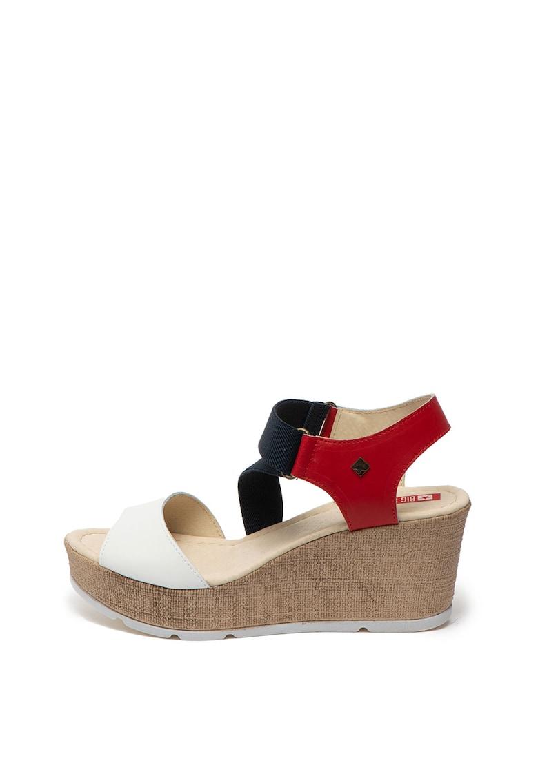 Sandale wedge cu garnituri de piele fashiondays.ro