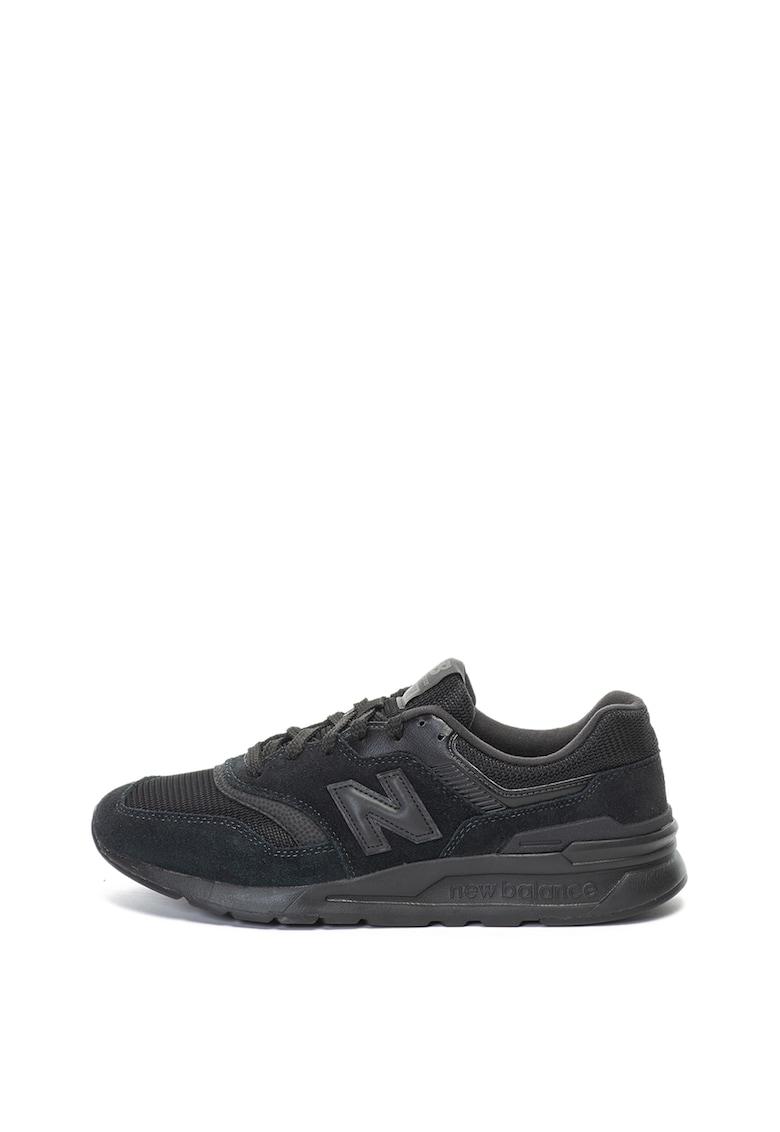 Pantofi sport de piele intoarsa si material textil 997H imagine