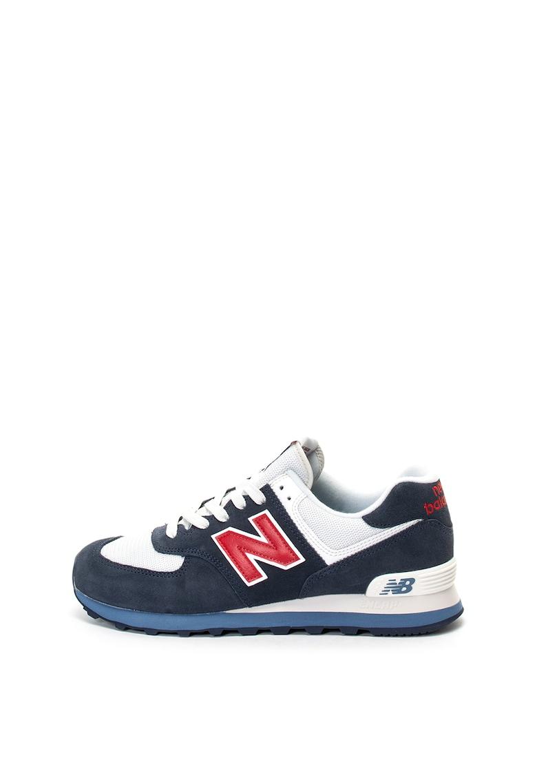 Pantofi sport de piele nabuc si piele 574 New Balance