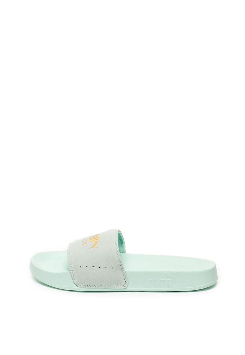 Papuci de piele intoarsa cu logo Leadcat