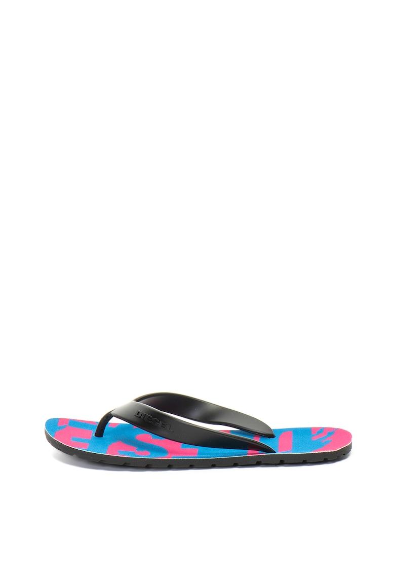 Papuci flip flop cu talpa cu logo Splish imagine fashiondays.ro Diesel