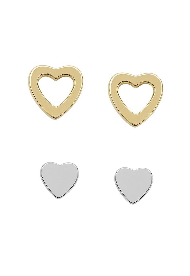 Set de cercei cu tija - de otel inoxidabil - in forma de inima