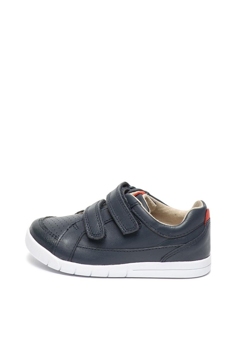 Clarks Pantofi de piele – cu velcro si calapod lat Emery Walk
