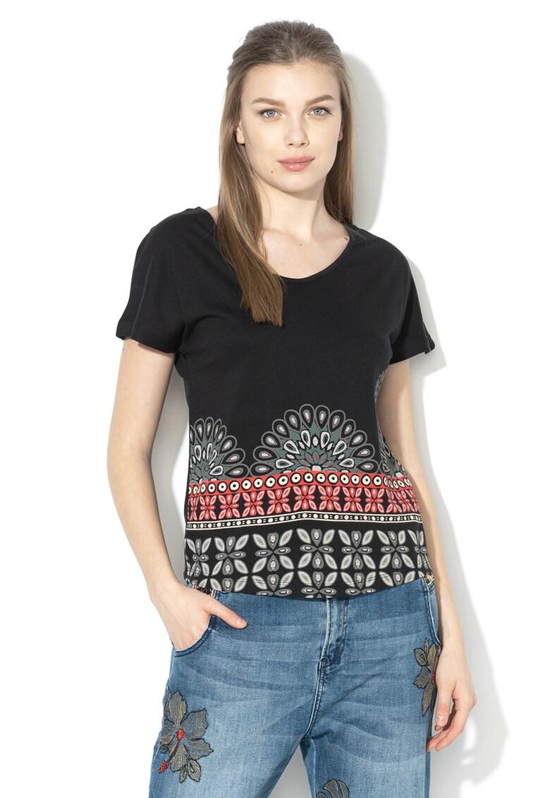 Tricou din amestec de modal cu strasuri Uma