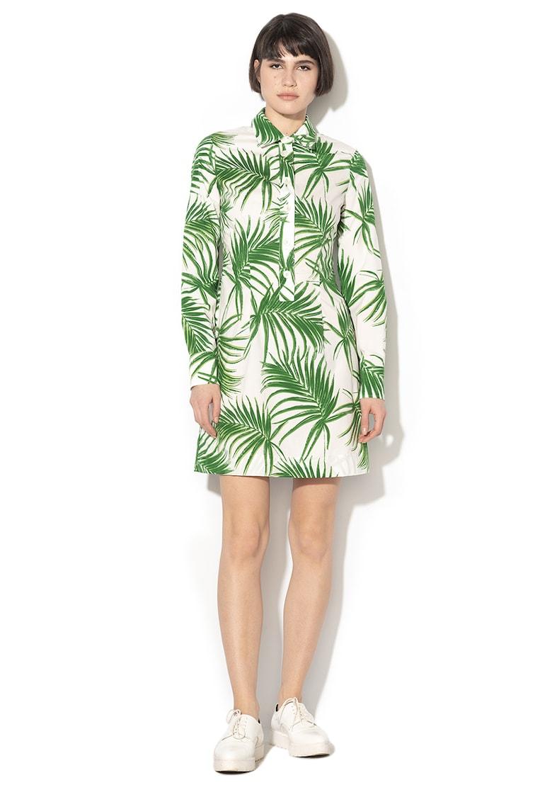 Rochie cu imprimeu tropical si croiala in A Udito