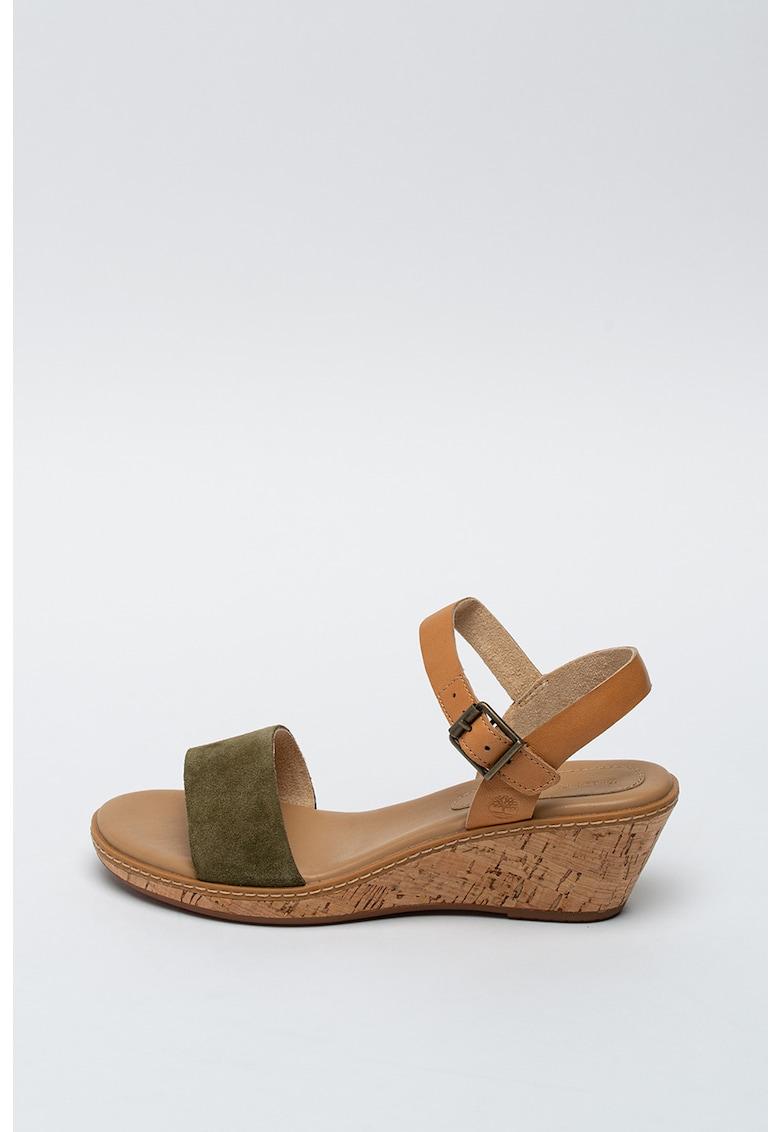 Sandale din piele si piele intoarsa - cu talpa wedge Whittier