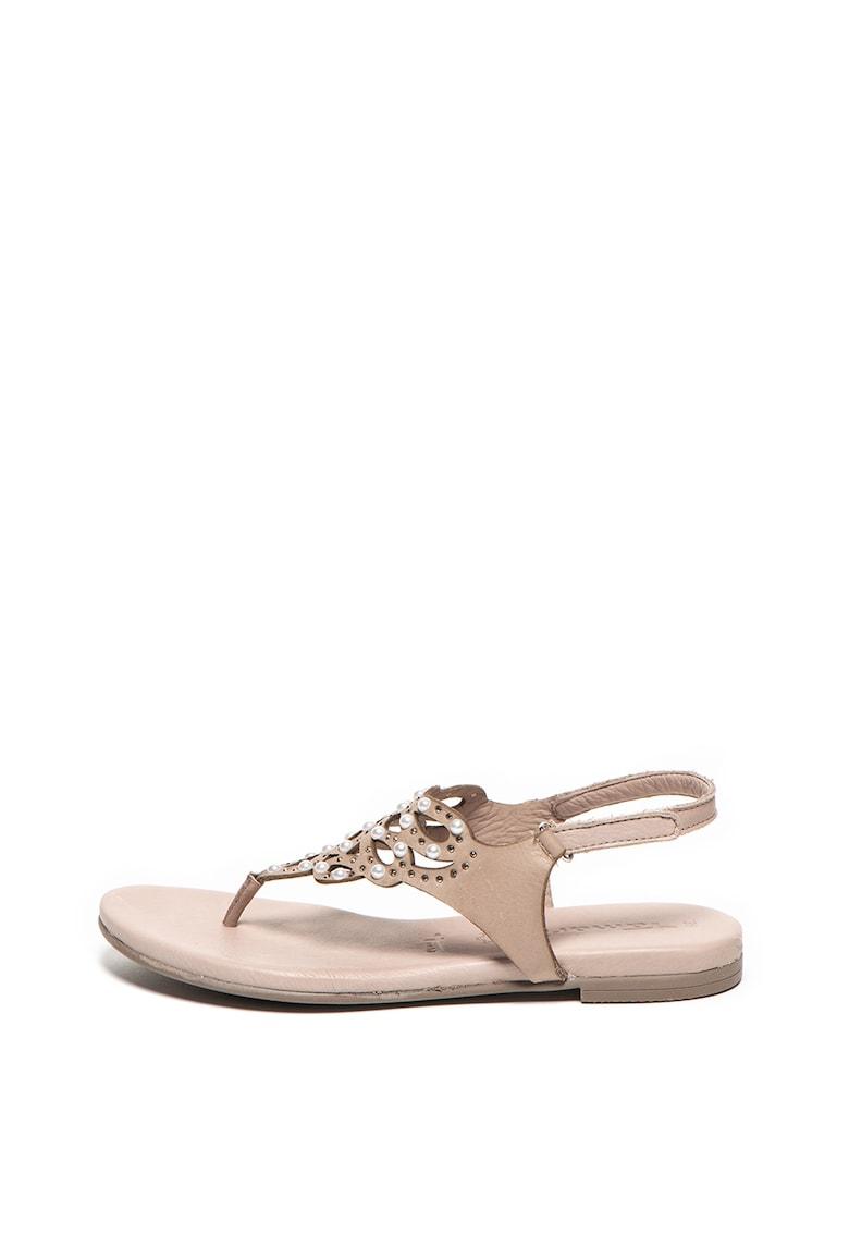 Tamaris Sandale de piele cu bareta separatoare si margele din perle