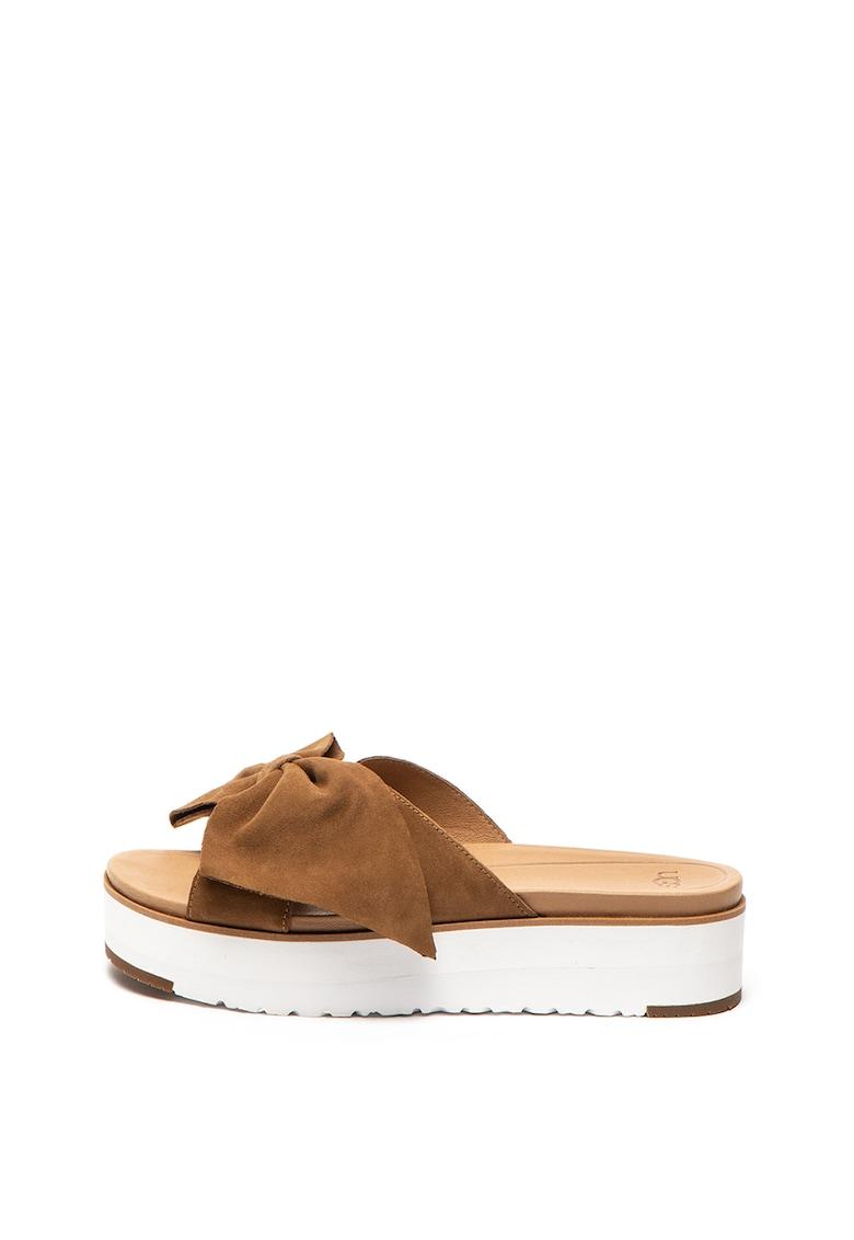 Papuci flatform de piele intoarsa Joan