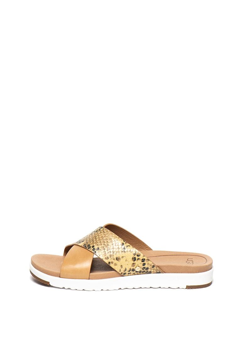Papuci de piele cu detaliu cu model reptila Kari