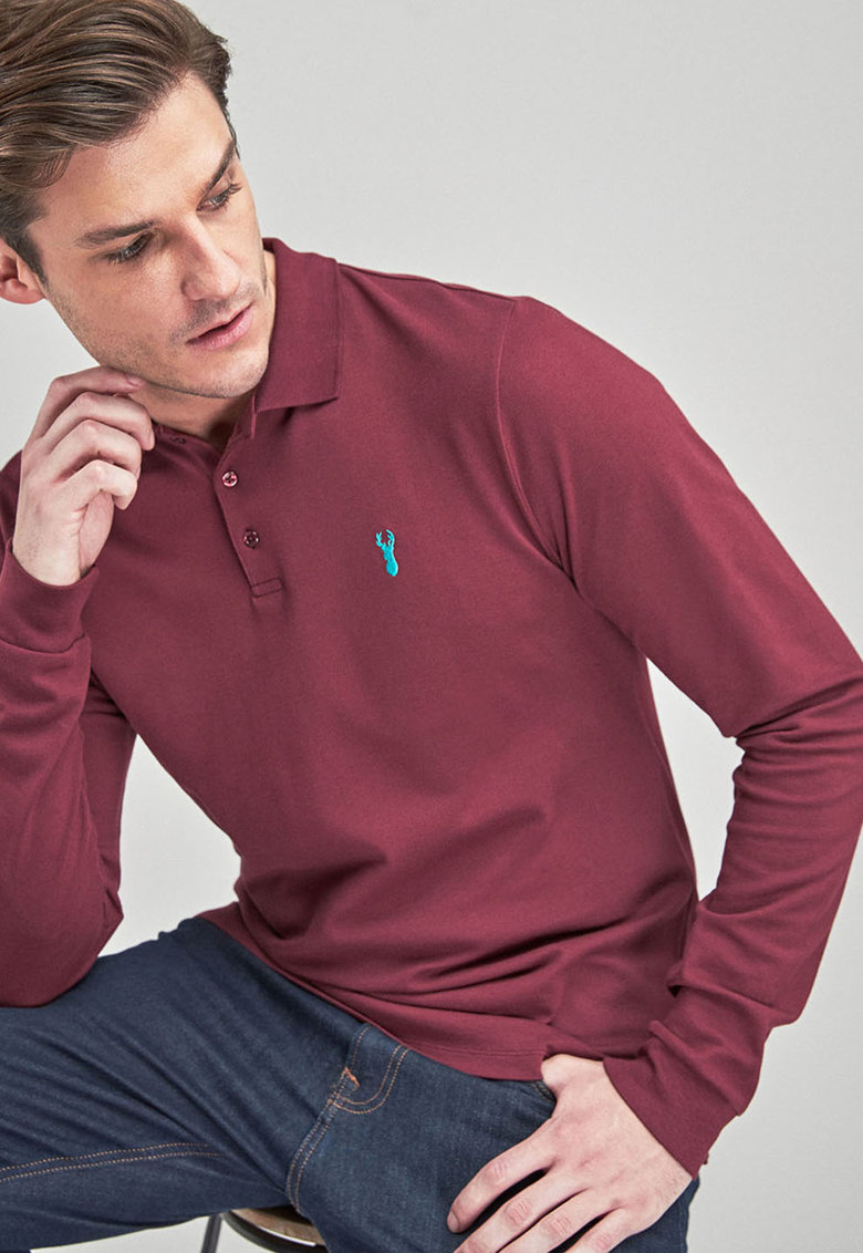 Bluza polo regular fit cu broderie de la NEXT