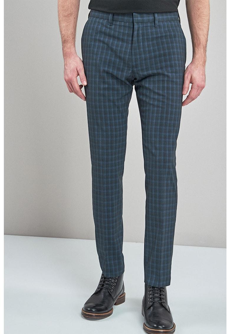 Pantaloni skinny fit cu model in carouri