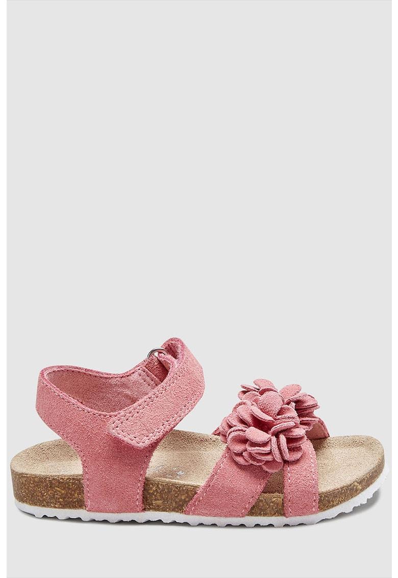 Sandale de piele intoarsa – cu velcro si aplicatie florala NEXT
