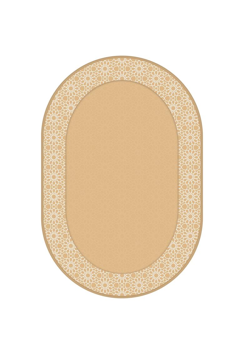 Covor oval - fibre sintetice - trafic intens - Crem/Auriu - 100475 poza fashiondays