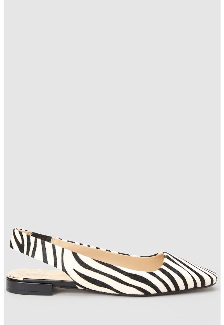Pantofi slingback de piele cu par scurt - cu imprimeu zebra