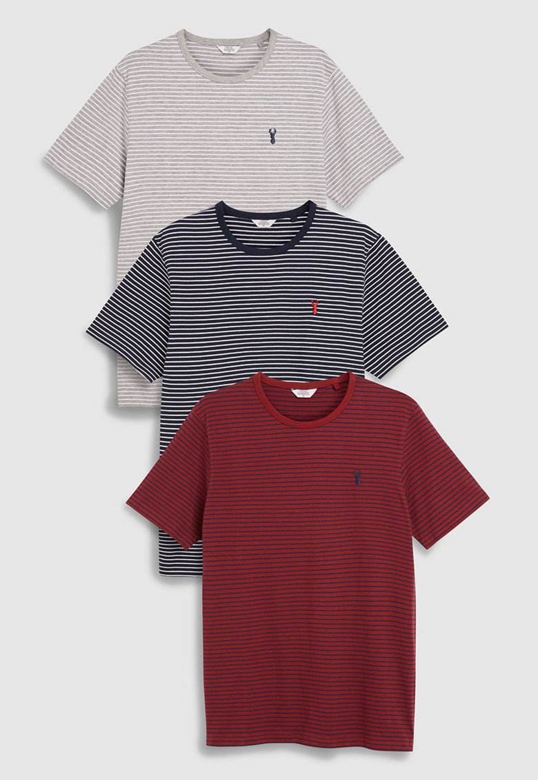 Set de tricouri regular fit cu model in dungi – 3 piese de la NEXT