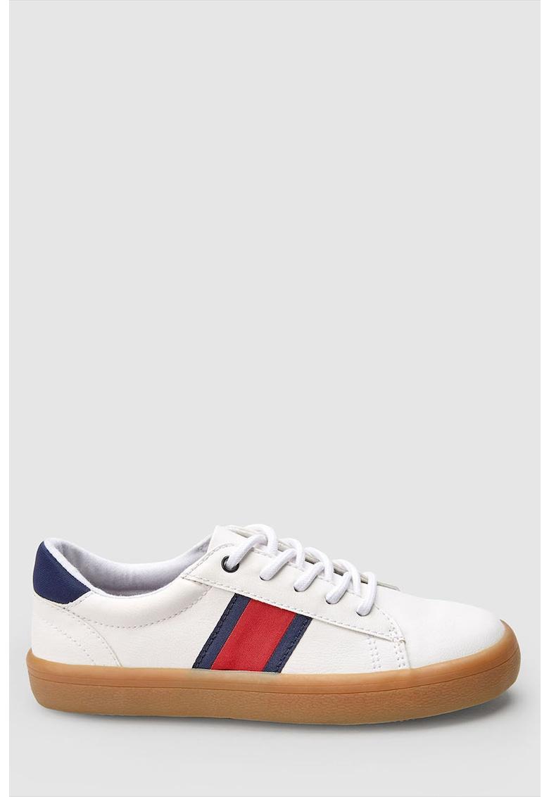 Pantofi sport de piele ecologica - cu insertii din material textil