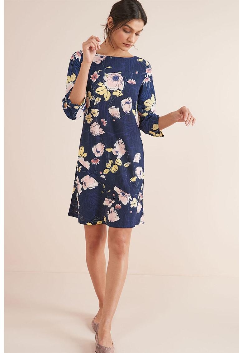 Rochie dreapta cu imprimeu floral si aspect texturat