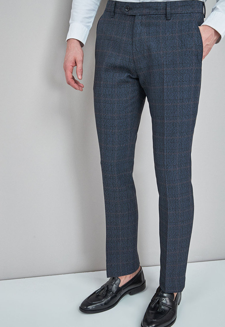 Pantaloni eleganti slim fit cu model in carouri NEXT