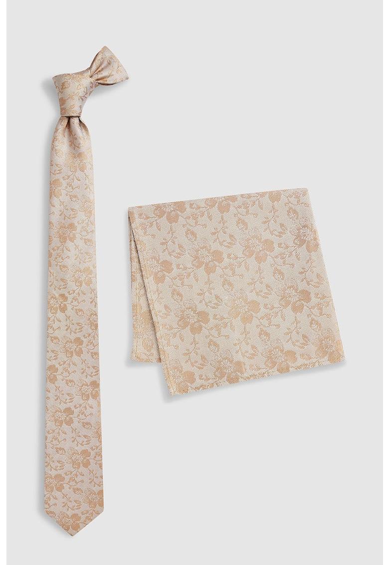Set de cravata din matase si batista cu model floral thumbnail