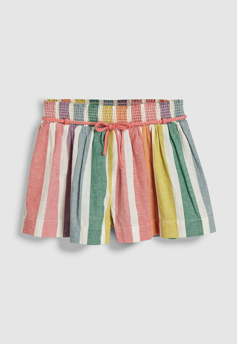 Pantaloni scurti din amestec de in - cu model in dungi