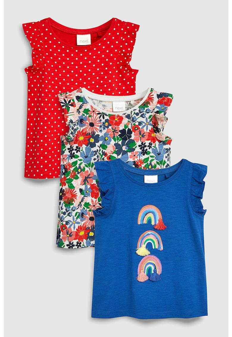 NEXT Set de tricouri cu imprimeu si maneci cu volane- 3 piese