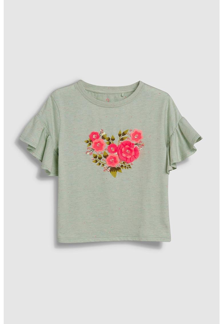Tricou cu imprimeu floral si decoratii