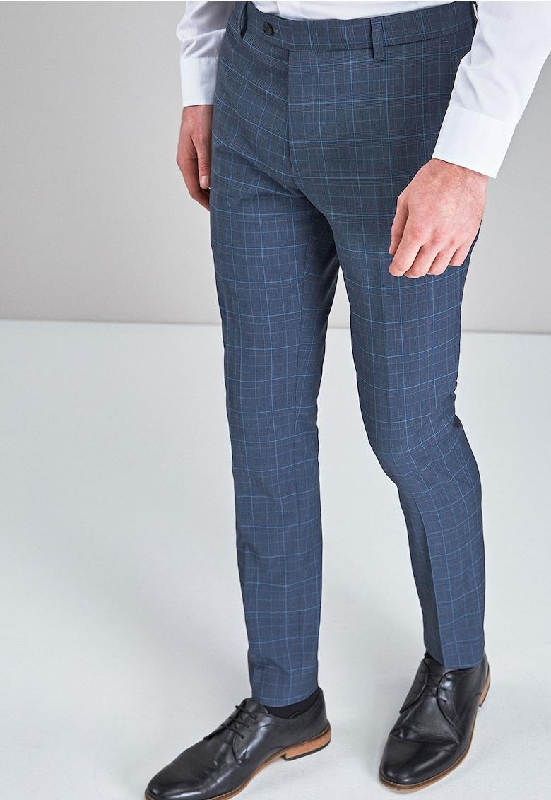 Pantaloni eleganti super skinny cu model in carouri