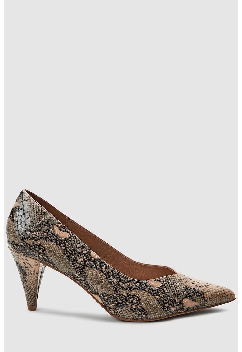 Pantofi de piele ecologica - cu imprimeu reptila si toc clasic imagine