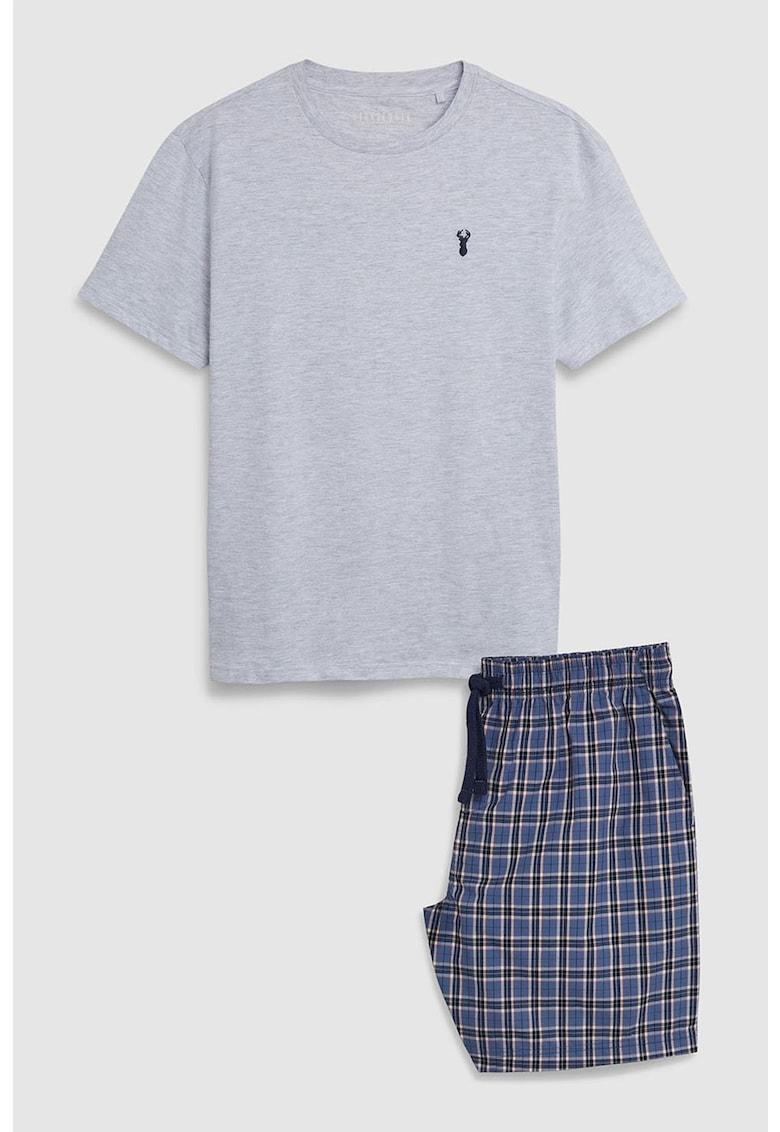 Pijama cu pantaloni scurti in carouri NEXT