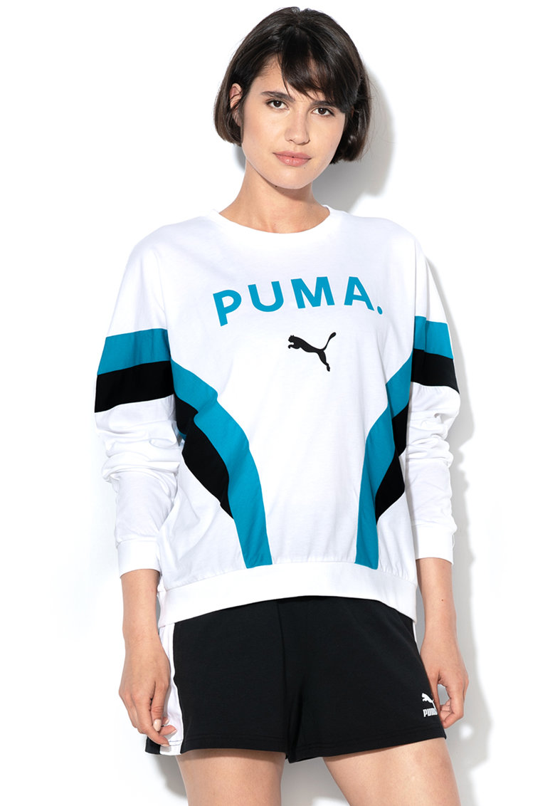 Puma Bluza sport lejera cu imprimeu logo si maneci cazute
