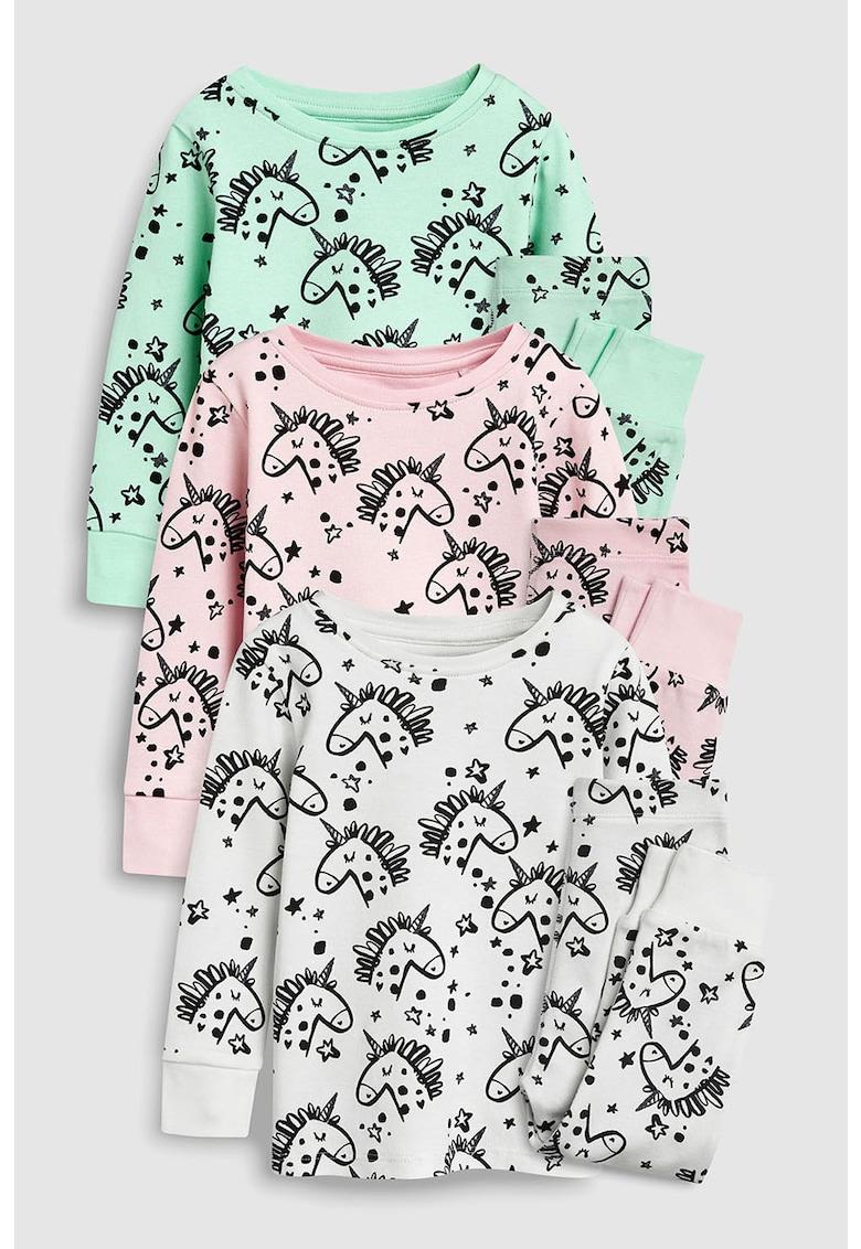 Set de pijamale cu model unicorn - 3 perechi