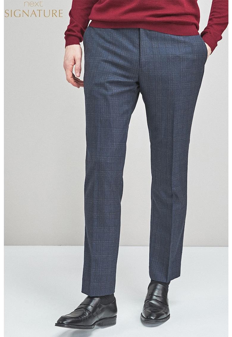 Pantaloni eleganti cu croiala dreapta din amestec de lana cu model in carouri