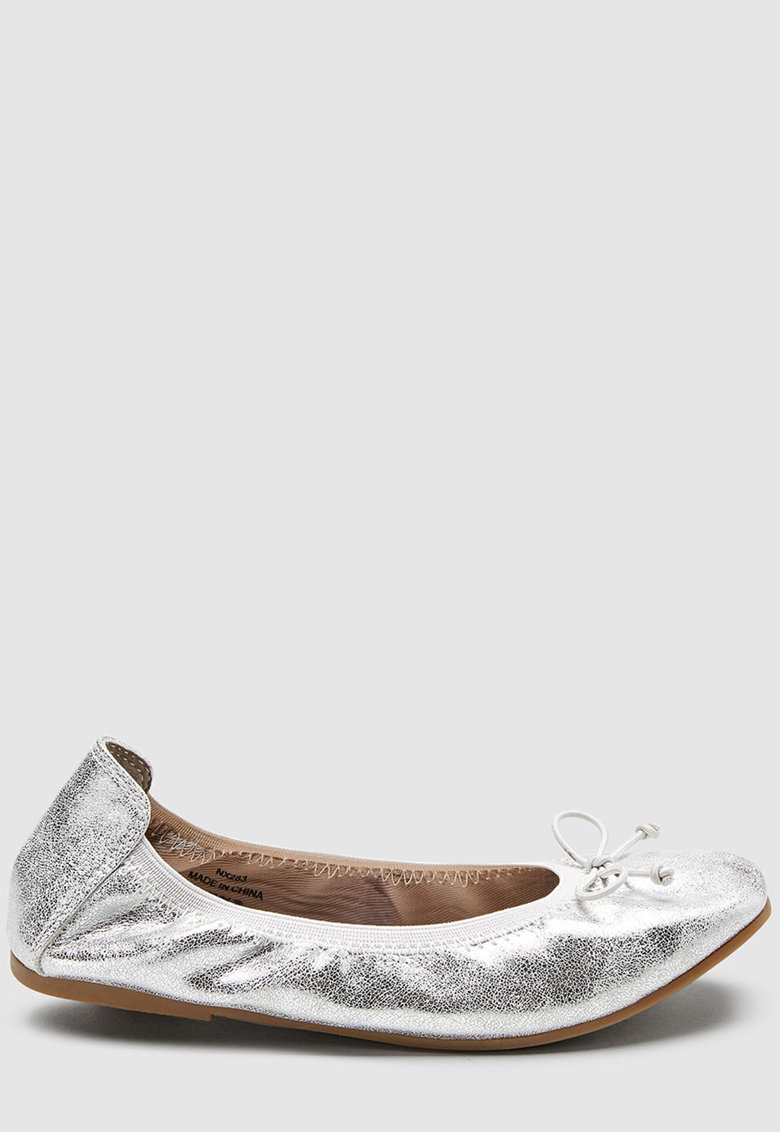 Balerini de piele ecologica cu aspect metalizat NEXT