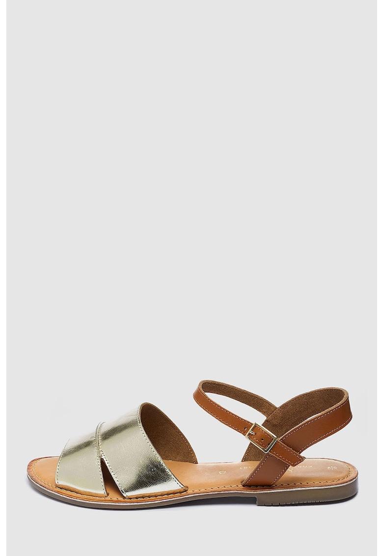 NEXT Sandale de piele cu aspect metalizat