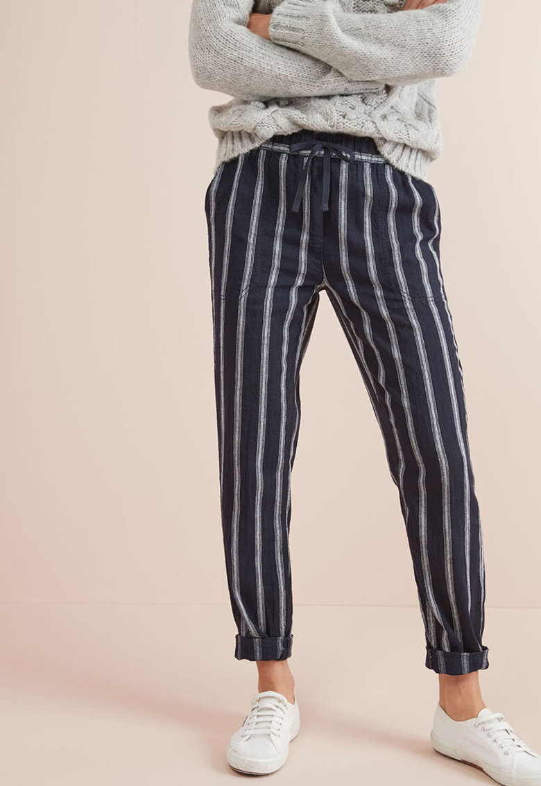 Pantaloni din amestec de in - cu model in dungi