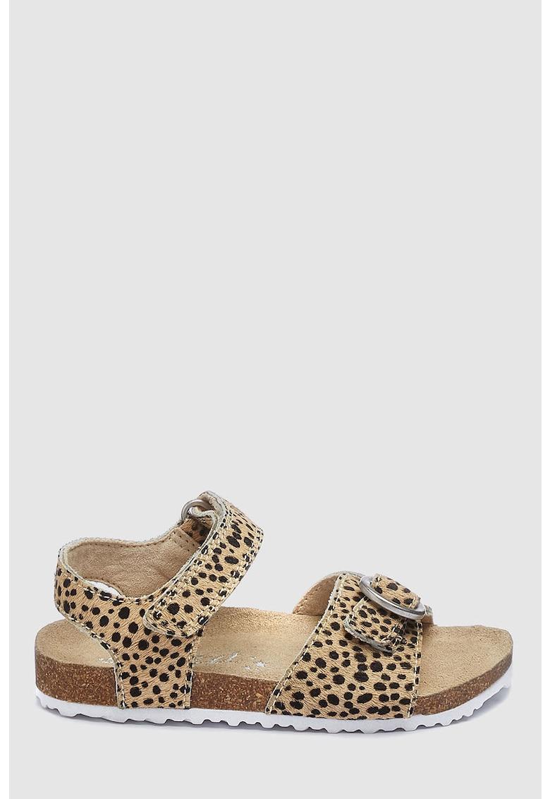 Sandale de piele cu par scurt si animal print