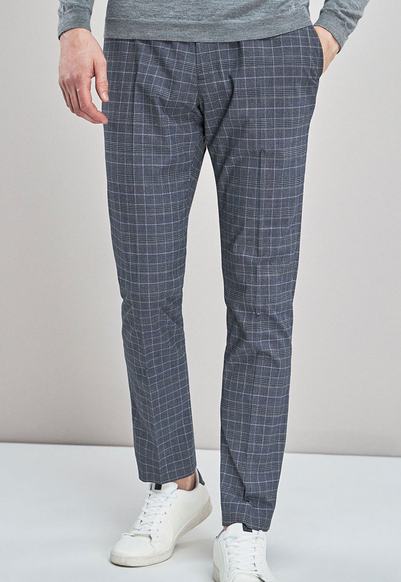 Pantaloni slim fit cu model plasa