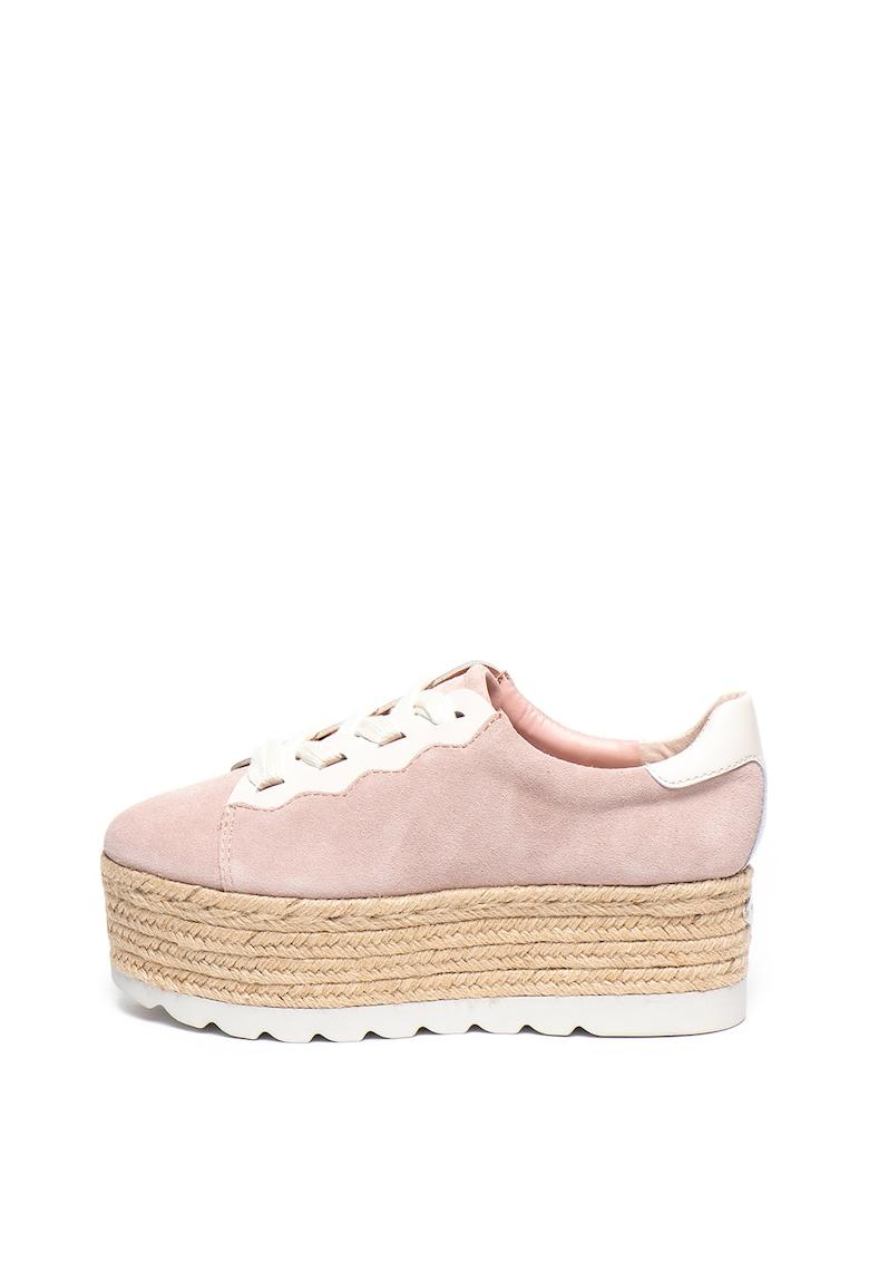 Pantofi sport flatform de piele si piele ecologica
