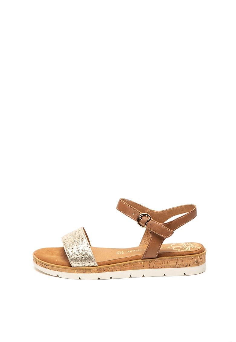Sandale de piele cu garnitura metalizata