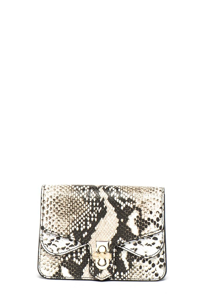 Geanta crossbody de piele cu model animal print