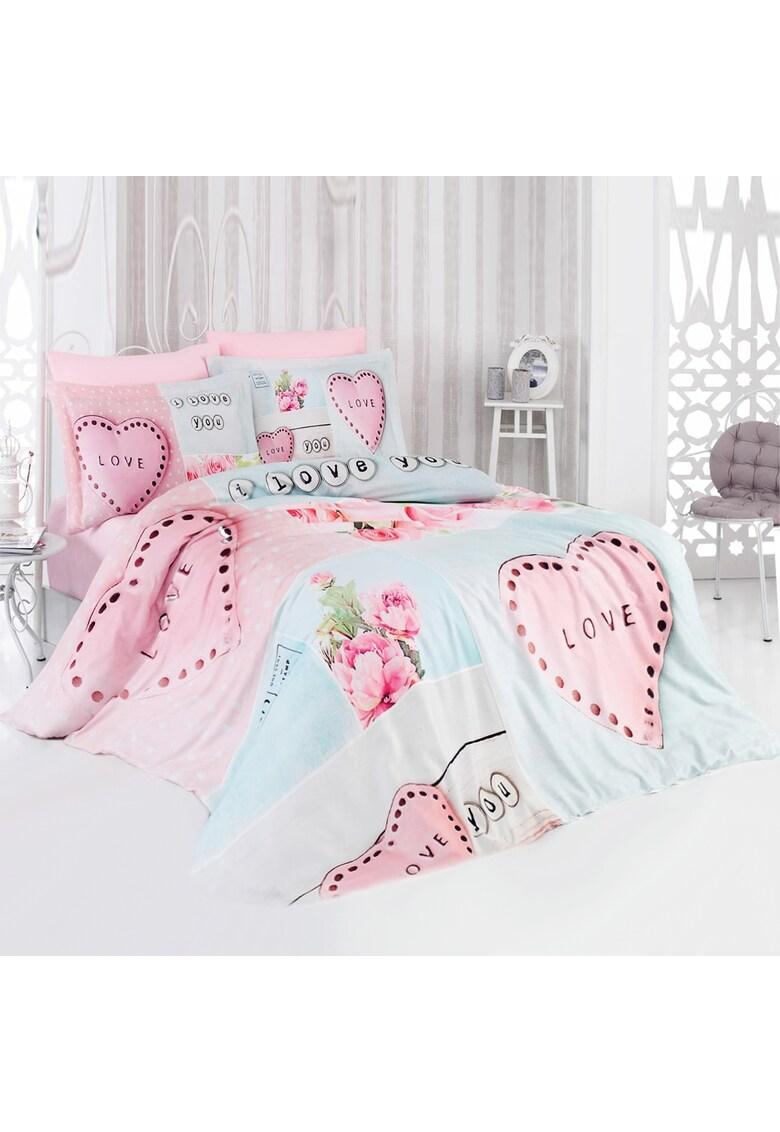 Lenjerie de pat pentru 2 persoane Minty 100% bumbac - model inimioare imagine fashiondays.ro 2021