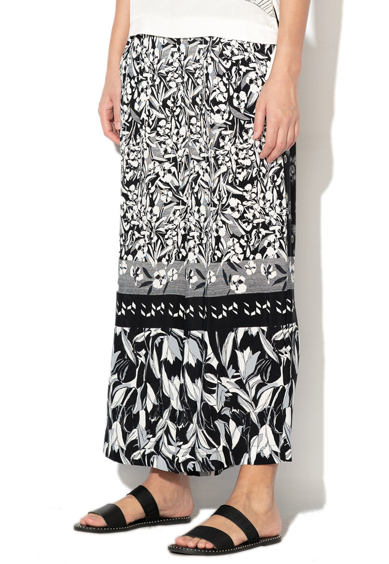 Pantaloni culotte din material vaporos - cu model floral Paola