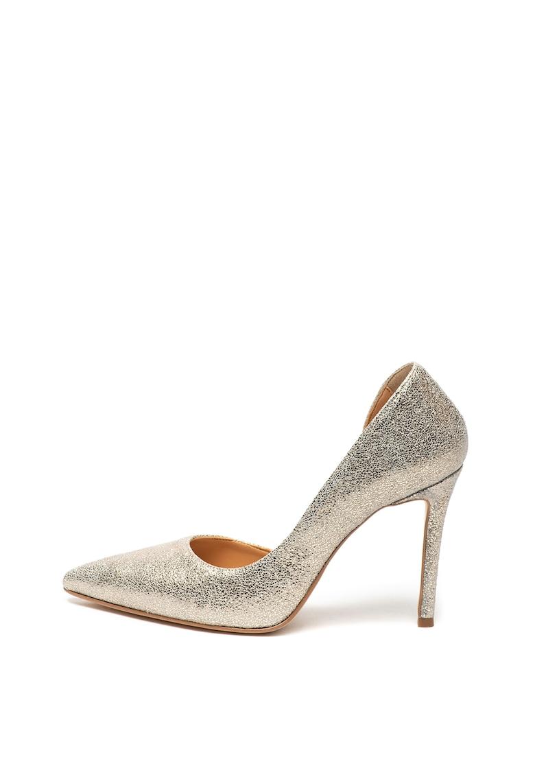 Pantofi d'Orsay de piele intoarsa cu aspect metalizat de la Zee Lane