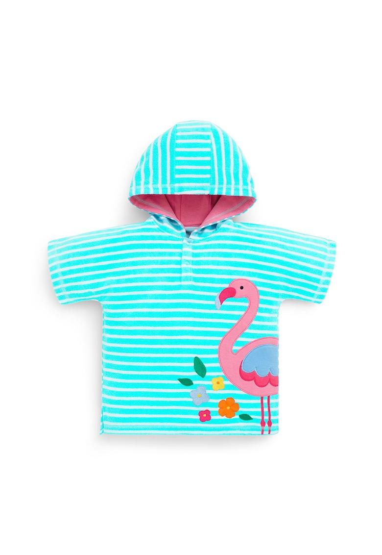 Poncho de plaja din material terry cu aplicatie flamingo