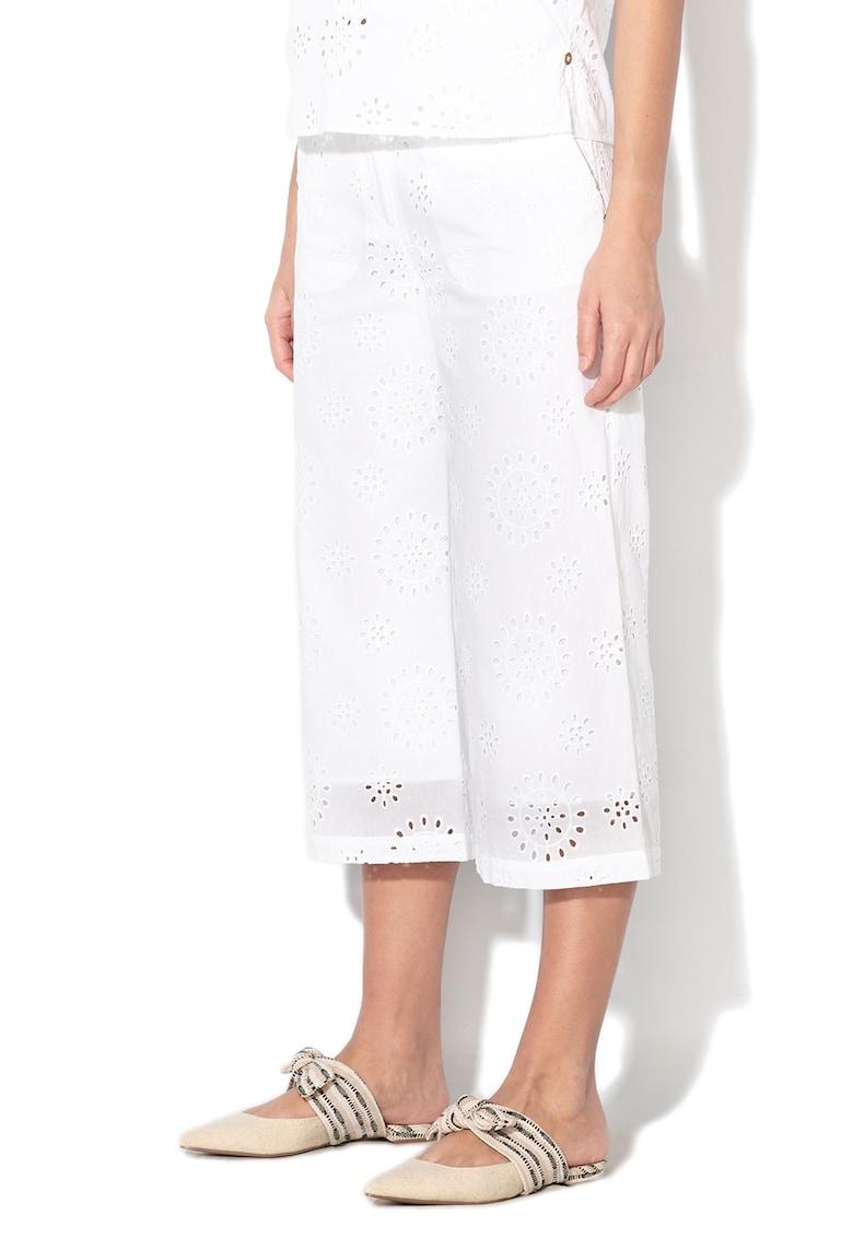 Pantaloni culotte din dantela Sangallo cu talie inalta Lauro