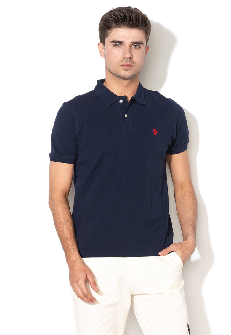 Tricou polo din material pique cu broderie logo de la US Polo Assn